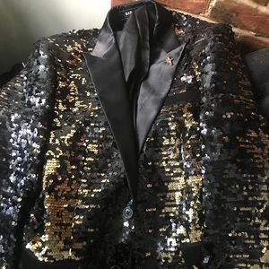Black and Gold Jacket and Shoes